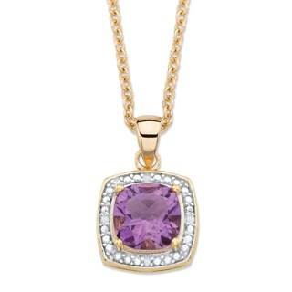 14k Yellow Gold over Silver 1 7/8ct TGW Cushion-cut Amethyst and Diamond Accent Necklace