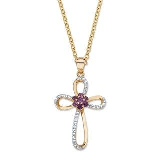 14k Yellow Gold 1/3ct TGW Purple Amethyst and Diamond Accent Looped Cross Pendant