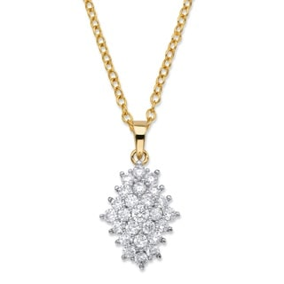 14k Goldplated 1 4/5ct TGW White Cubic Zirconia Cluster Necklace