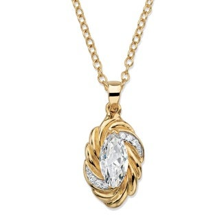 Yellow Goldplated 2 1/10ct TGW Marquise-cut White Cubic Zirconia Ribbon Necklace