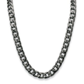 Black-plated Men's 12mm Curb Link Necklace