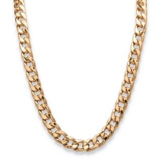 Black-plated Gold Men's 12mm Curb Link Necklace