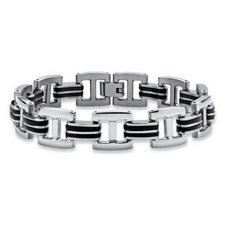 Two-tone Stainless Steel and Rubber Men's Bar-link Bracelet