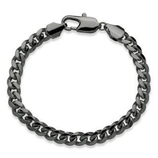 "Men's Black Ruthenium-Plated Curb-Link Bracelet (10.5mm), 10"""