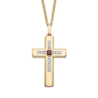 Goldplated Men'S 1Ct Tgw Red Garnet And Cubic Zirconia Cross Necklace
