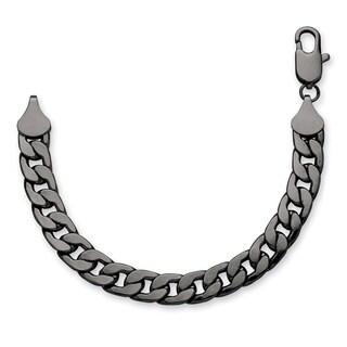 Black over Metal Men's 12mm Curb Link Bracelet