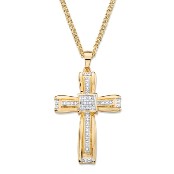 Diamond Heart Necklace Cross Genuine Diamond Sterling Silver With Rose Accents