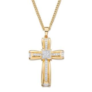 Yellow Goldplated Men's White Diamond Accent Layered Cross Pendant
