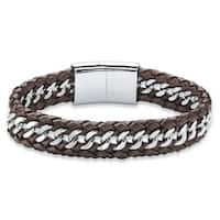 Stainless Steel Men's Brown Leather Braided Bracelet