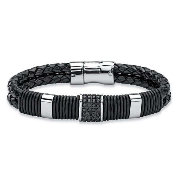 Stainless Steel and Leather Men's Black Crystal Accent Bracelet