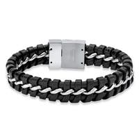 Stainless Steel and Leather Men's Woven Black Braided Bracelet