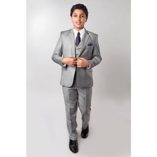 Tazio Boys' Grey 5-piece Suit|https://ak1.ostkcdn.com/images/products/14682411/P21216219.jpg?impolicy=medium