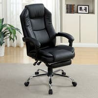 Furniture of America Baldwin Contemporary Extendable Leatherette Black Office Chair