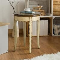 Furniture of America Lira Vintage Style Two-Tone Round Side Table