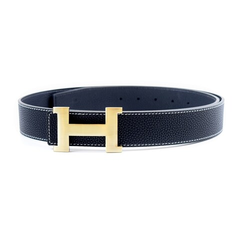 Dinamit Men's 'H' Black Leather Reversible Removable-buckle Belt