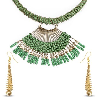 Liliana Bella Gold Plated Green Handmade Thread Necklace and Earring Set