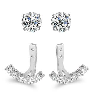 Sterling Silver Cubic Zirconia Jacket Stud Earrings|https://ak1.ostkcdn.com/images/products/14683215/P21216865.jpg?impolicy=medium
