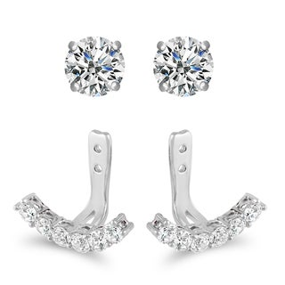 Sterling Silver Cubic Zirconia Jacket Stud Earrings