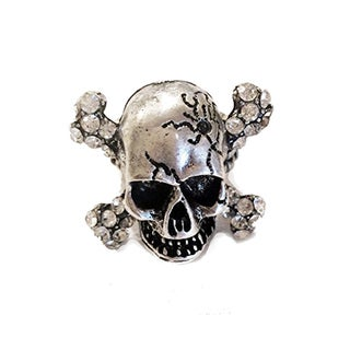 Silvertone Skull Punk Bike Rider Men's Ring