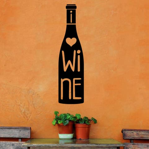 I heart Wine, Wine Bottle Vinyl Wall Quote Decal