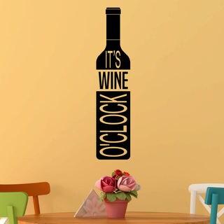 It's Wine Oclock, Wine Bottle Vinyl Wall Quote Decal