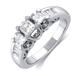 10k White Gold 1/5ct TDW Two Row Double Heart Band