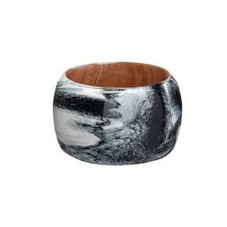 Women's Hand-painted Black and White Wide Wood Bangle