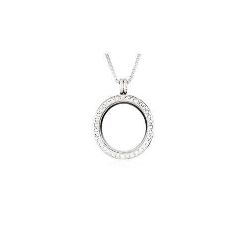 Silver Plated 30 mm Magnetic Locket Pendant Necklace