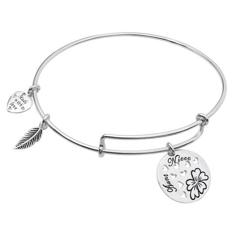 Qina C. Sterling Silver Aunt Niece Heart Dangle Charm Adjustable Wire Bangle Bracelet