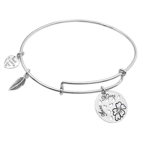 Qina C. Sterling Silver Aunt Niece Heart Dangle Charm Adjustable Wire Bangle Bracelet