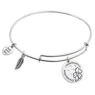Qina C. Sterling Silver Flower Grandmother & Granddaughter Dangle Charm Adjustable Wire Bangle Brace