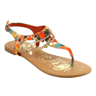Soda IC89 Women's Bohemian Sequin Chain T-strap Flat Beach Thong Sandals