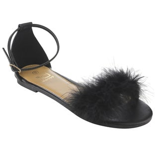 Betani Women's FI30 Ankle Strap Pom-pom Flat Dress Sandals