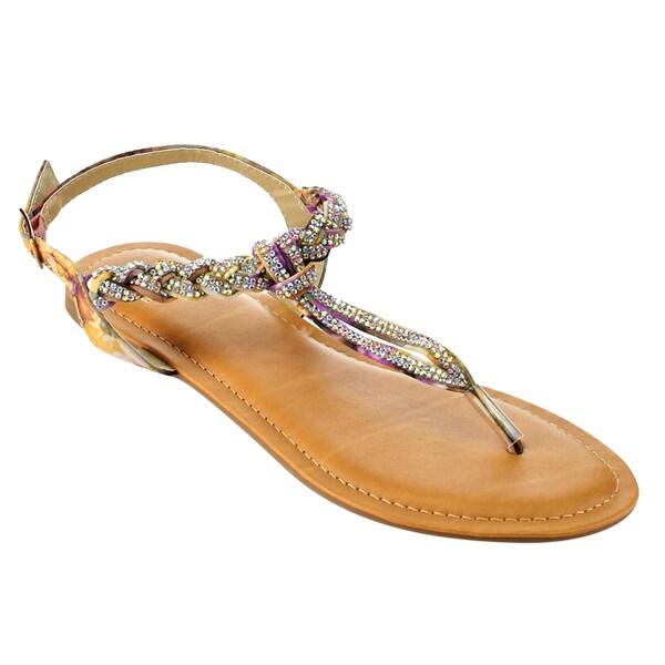 bda7965e2d04 Shop Betani FI31 Women s Sling Back Rhinestone Flat Thong Sandals ...
