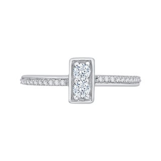14k White Gold 1/3ct TDW Two-Stone Diamond Fashion Ring (G-H, I2-I3)