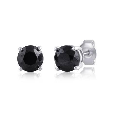 Divina Sterling Silver 3ct TDW Black Diamond Stud Earring (Black)