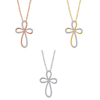 Divina Silver Overlay And Goldtone Diamond Accent Cross Pendant