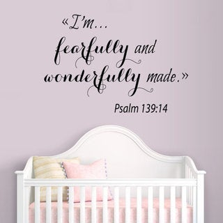 Psalm Quote I'm Fearfully And Wonderfully Made Vinyl Sticker Interior Design Nursery Room Sticker De