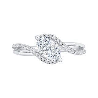 14k White Gold 3/4ct TDW Two-Stone Diamond Fashion Ring (G-H, I2-I3)