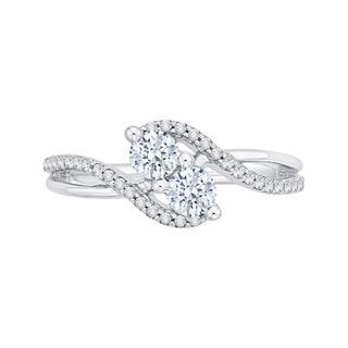 14k White Gold 3/4ct TDW Two-Stone Diamond Fashion Ring (G-H, I2-I3)