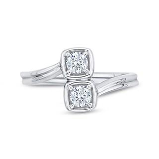 14k White Gold 2/5ct TDW Two-Stone Diamond Fashion Ring (G-H, I2-I3)