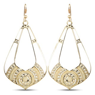 Liliana Bella Gold Plated White Fashion Hoop Dangle Earrings