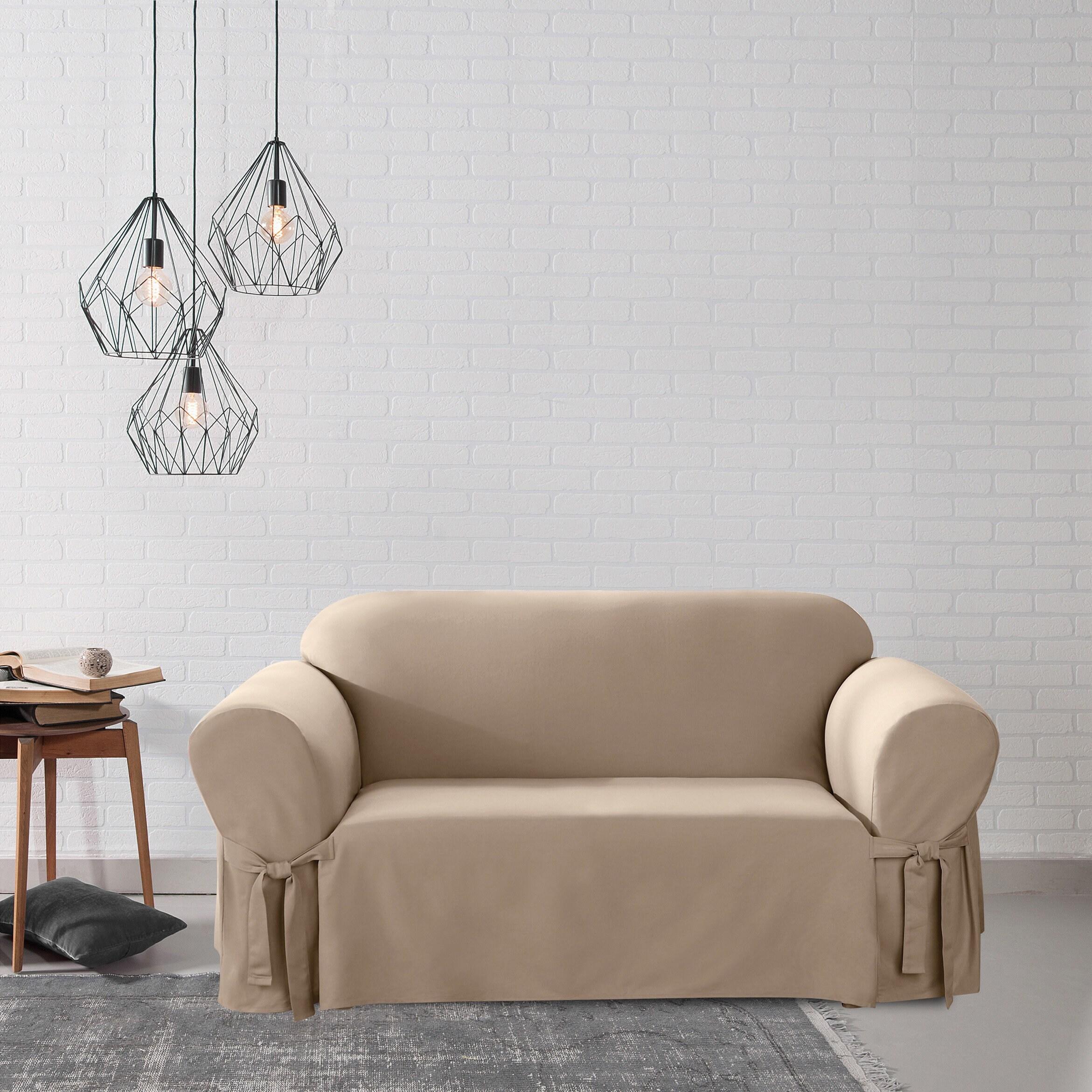 Cool Sure Fit Cotton Duck Washable Loveseat Slipcover Short Links Chair Design For Home Short Linksinfo