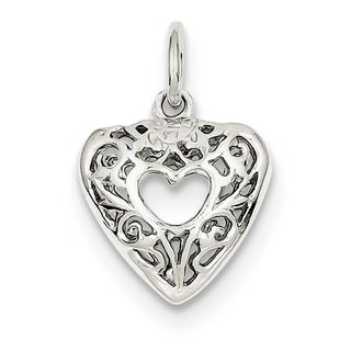 Sterling Silver Filigree Heart Charm with 18-inch Chain by Versil