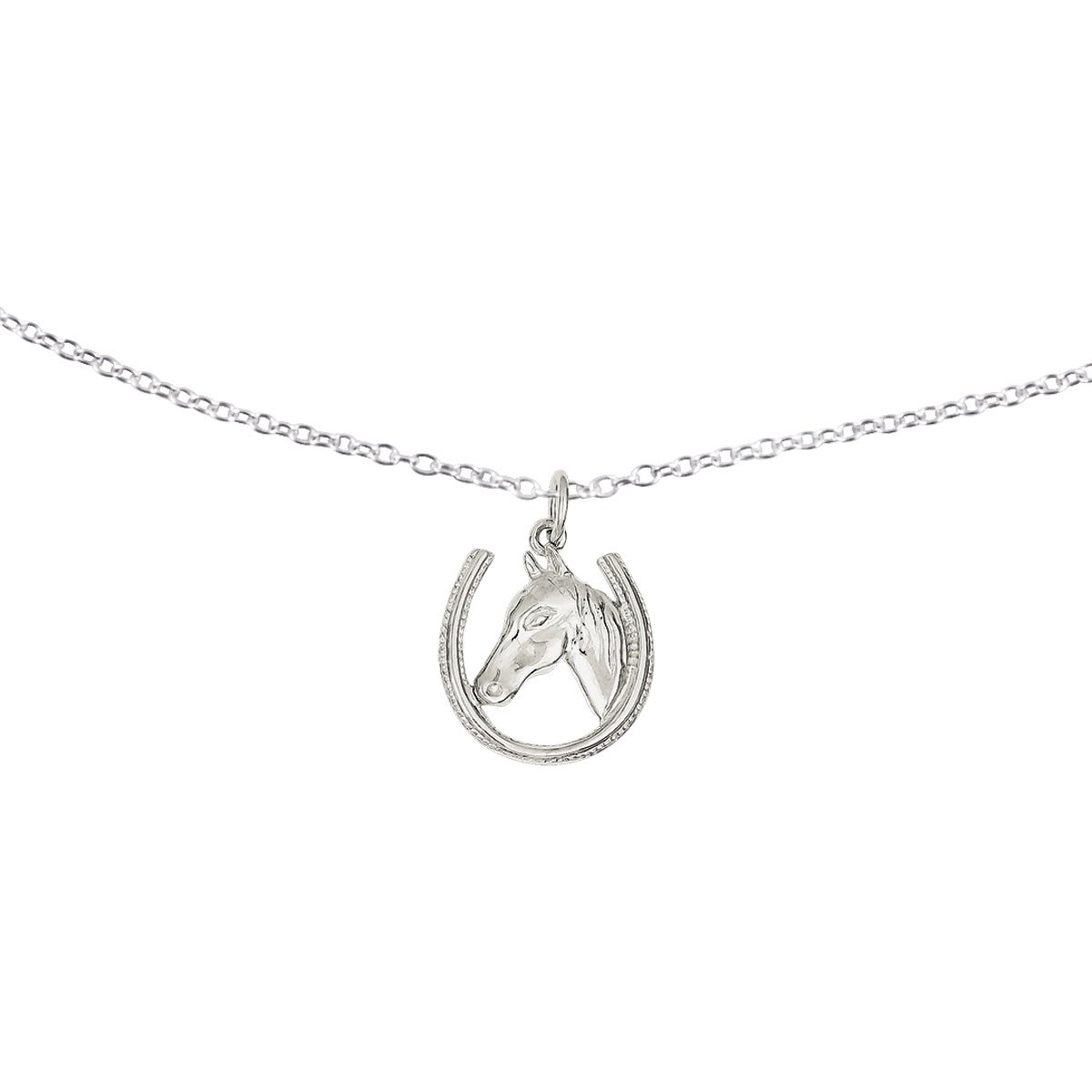 Sterling Silver Horseshoe with Horse Head Pendant with 18...