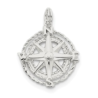 Sterling Silver Compass Charm by Versil with 18 Inch Chain