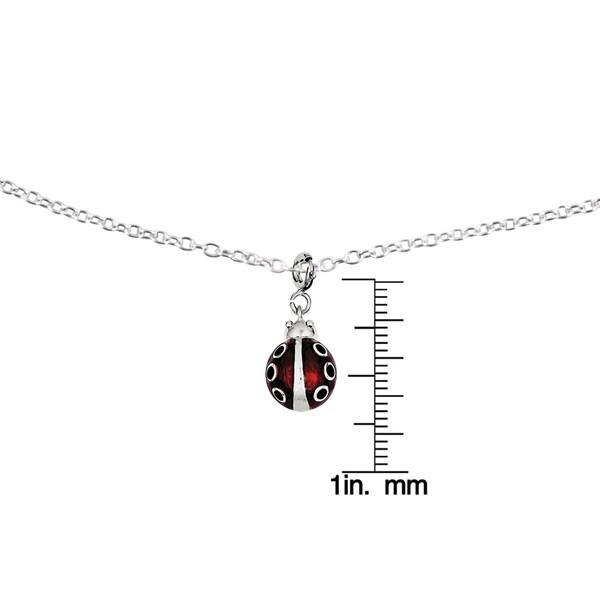 Sterling Silver Enamel Ladybug Charm /& 18 Chain