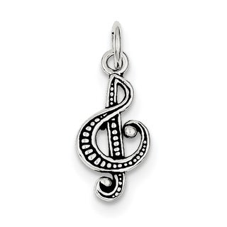 Sterling Silver Antiqued Music Note Charm by Versil with 18 Inch Chain