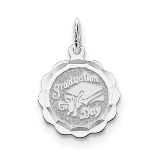 Sterling Silver Graduation Day Disc Charm with 18-inch Chain by Versil