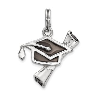 Sterling Silver Enamel Graduation Cap & Diploma Charm by Versil with 18 Inch Chain